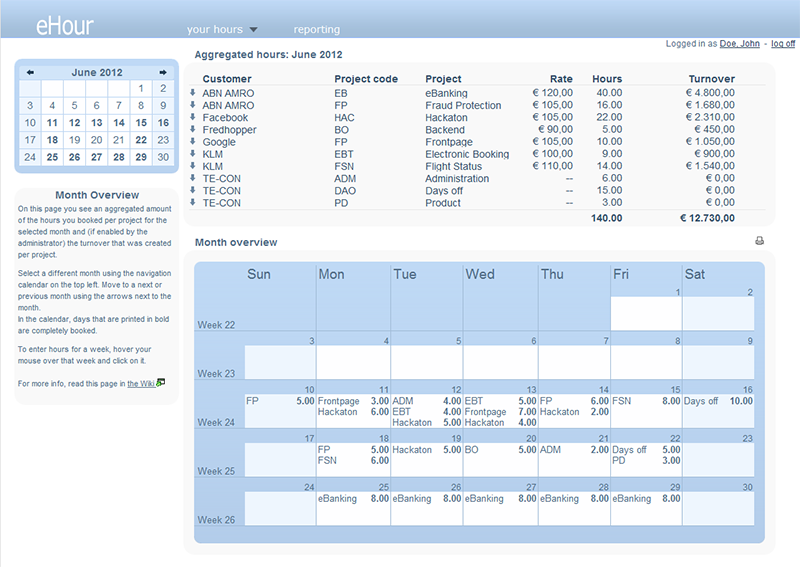 eHour is an open source webbased time tracking tool. well known Screen Shot